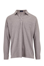 Peter Millar - Avon Gray Cotton & Silk Long Sleeve Polo