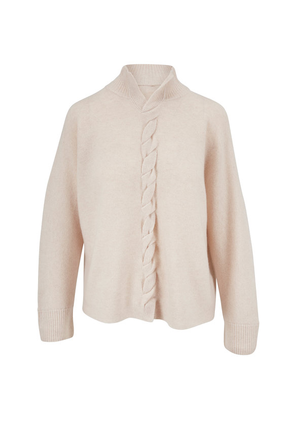 Lafayette 148 New York Oatmeal Braided Front Cashmere Sweater
