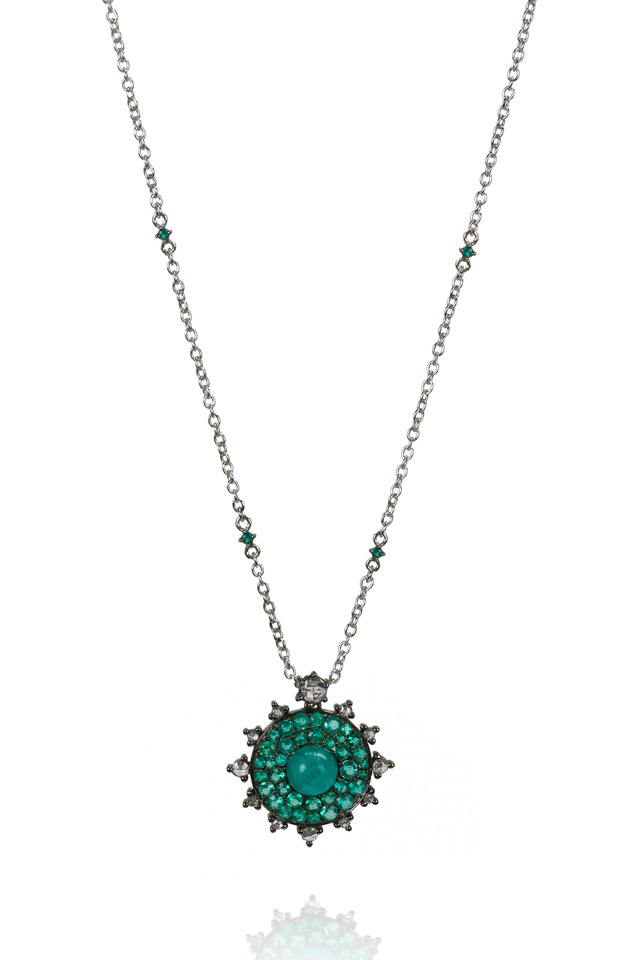 18K White Gold Emerald & Diamond Necklace