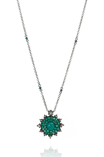 Nam Cho - 18K White Gold Emerald & Diamond Necklace