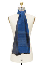 Chelsey Imports - Blue Check Silk Scarf