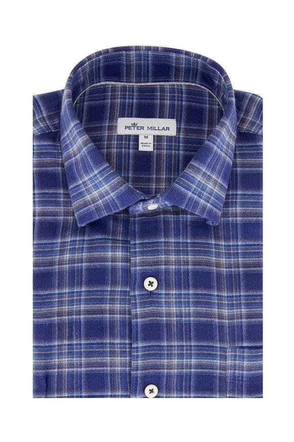 Peter Millar Hugh Navy Blue Flannel Sport Shirt
