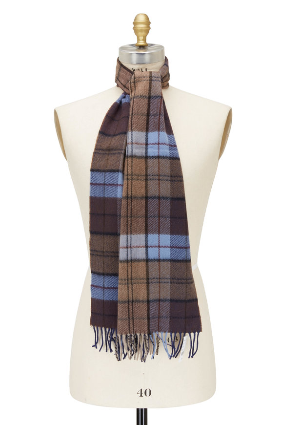 Chelsey Imports Blue & Brown Plaid Cashmere Scarf
