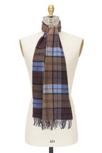Chelsey Imports - Blue & Brown Plaid Cashmere Scarf