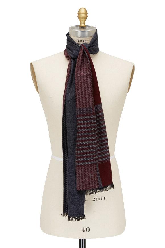 Chelsey Imports Navy & Burgundy Plaid Silk Scarf