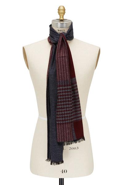 Chelsey Imports - Navy & Burgundy Plaid Silk Scarf