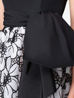 Carolina Herrera - Black & White Lasercut Floral A-Line Dress