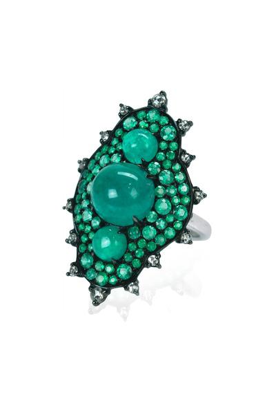 Nam Cho -  Emerald Cabochon White Gold Snowman Diamond Ring
