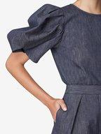 Carolina Herrera - Dark Navy Wide Leg High-Rise Chambray Short