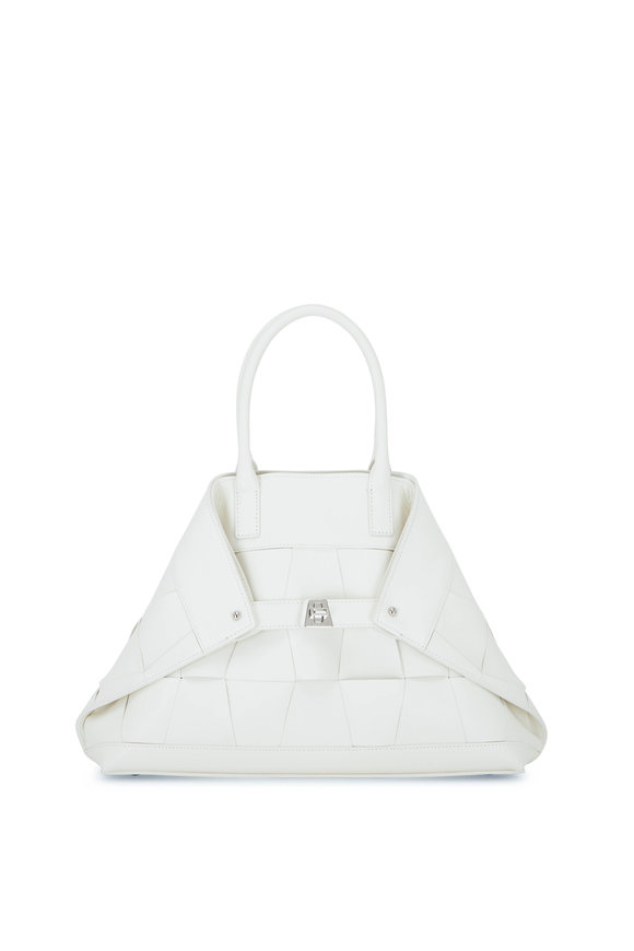 Akris Ai White Woven Leather Small Top Handle Bag
