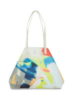 Akris - Ai Multicolor Stroke Print Leather Top Handle Bag