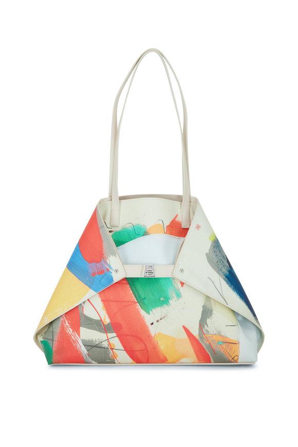 Akris Ai Multicolor Stroke Print Leather Top Handle Bag