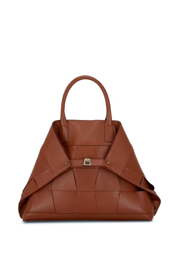 Akris Ai Caramel Woven Leather Top Handle Bag