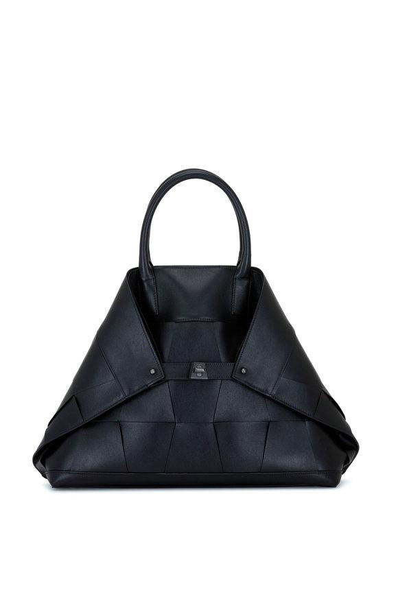 Akris Ai Black Woven Leather Top Handle Bag