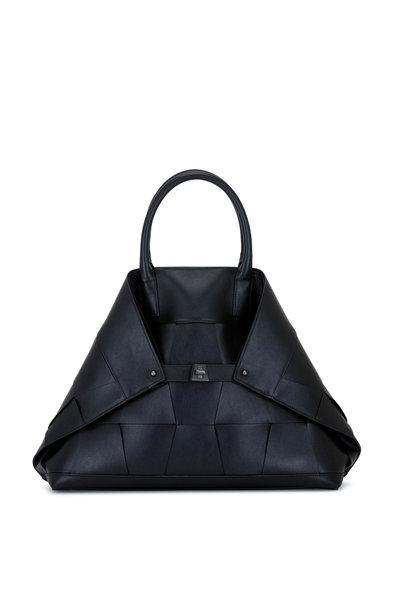 Akris - Ai Black Woven Leather Top Handle Bag