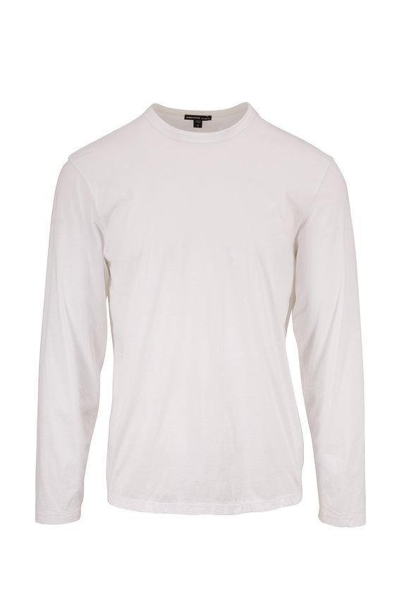 James Perse White Lotus Jersey Crewneck T-Shirt