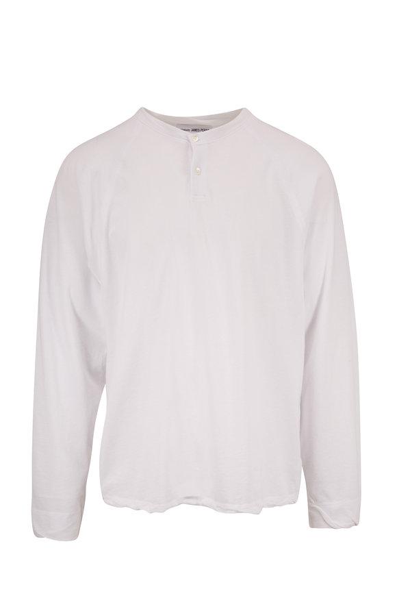James Perse White Cotton Raglan Sleeve Henley