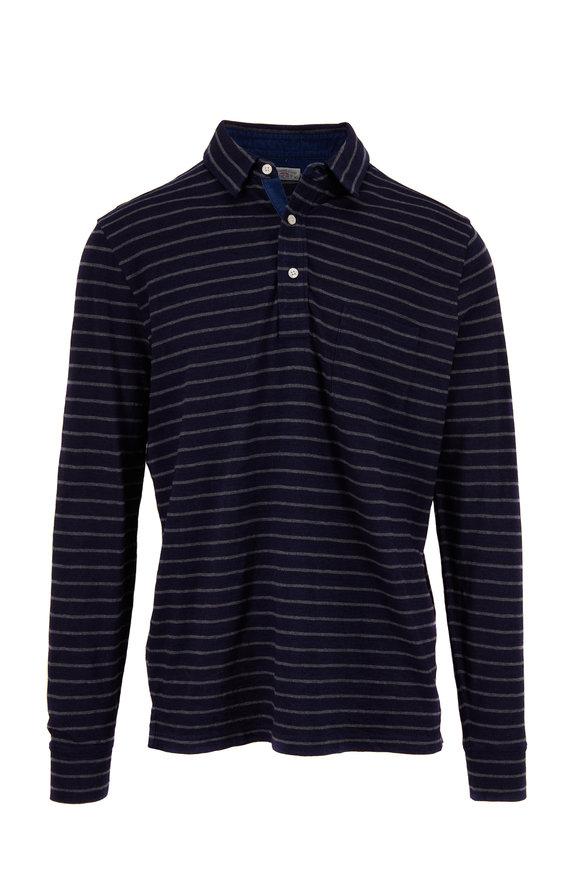 Faherty Brand Indigo Stripe Long Sleeve Polo