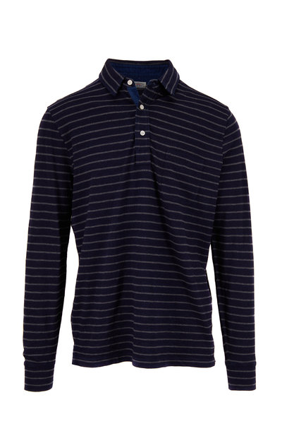 Faherty Brand - Indigo Stripe Long Sleeve Polo