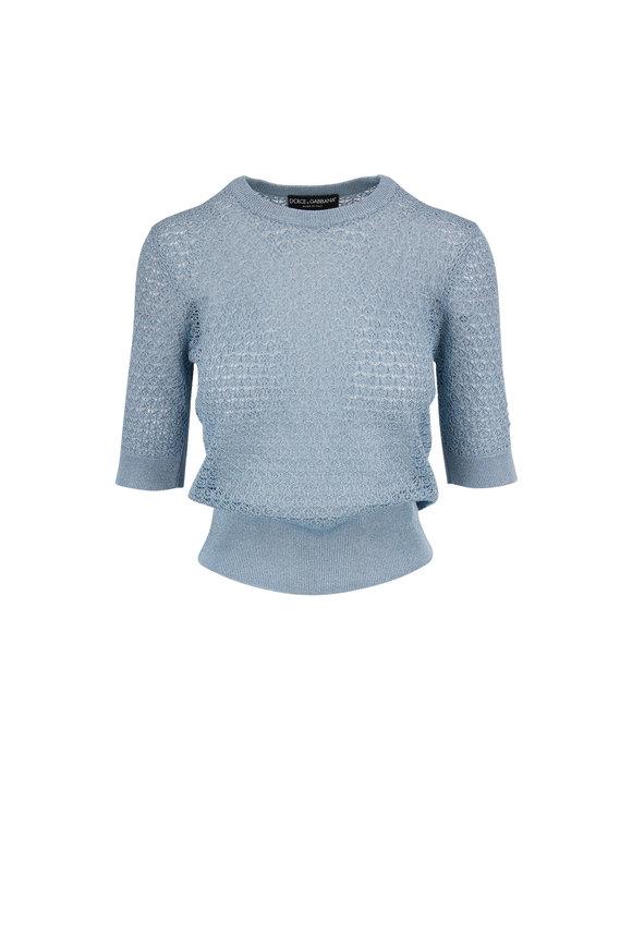 Dolce & Gabbana Blue Lurex Elbow Sleeve Knit