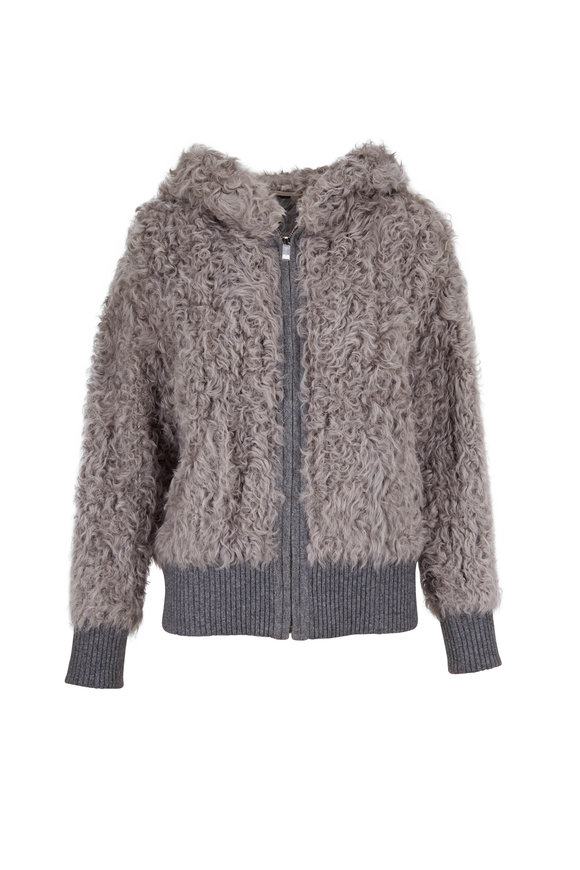 Reich Furs Light Gray Kalgan Lambswool Hooded Jacket