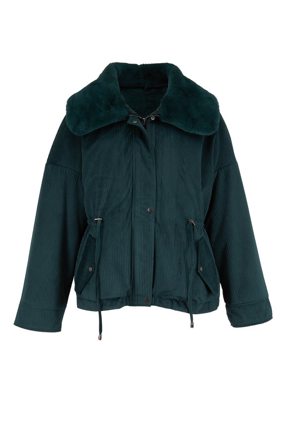 Reich Furs Forest Green Rex Rabbit Corduroy Jacket