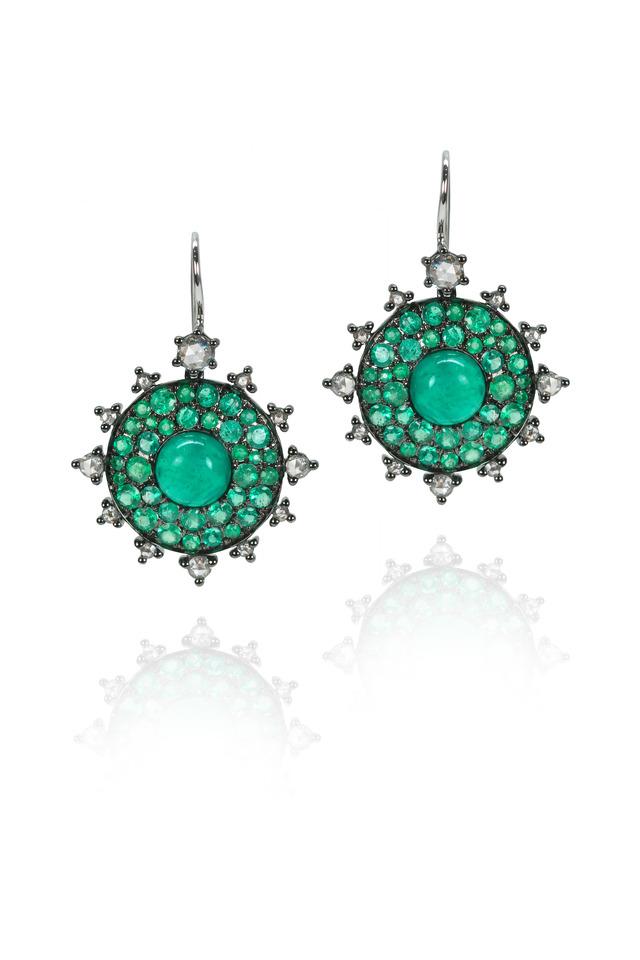 White Gold Emerald Bullseye Diamond Earrings