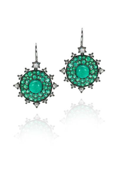 Nam Cho - White Gold Emerald Bullseye Diamond Earrings