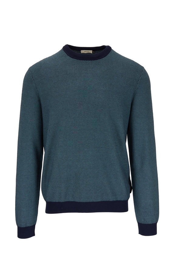 Z Zegna Navy Blue Textured Crewneck Sweater