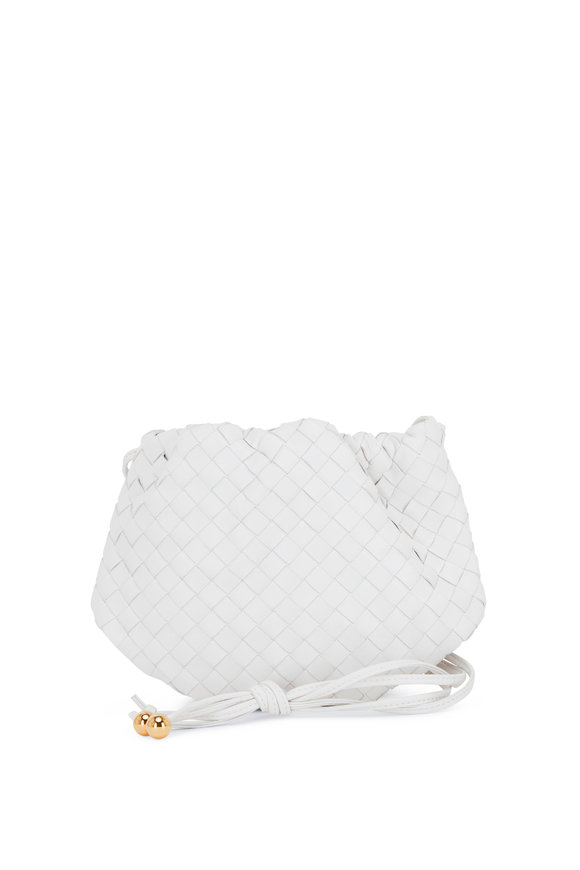 Bottega Veneta Chalk Interciatto Leather Mini Crossbody Pouch