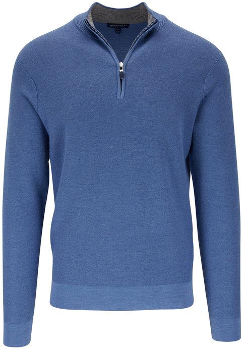 Peter Millar Victory Medium Blue Cashmere Quarter-Zip Pullover