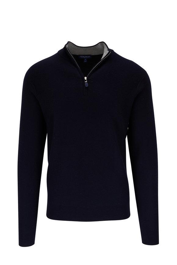 Peter Millar Victory Navy Blue Cashmere Quarter-Zip Pullover