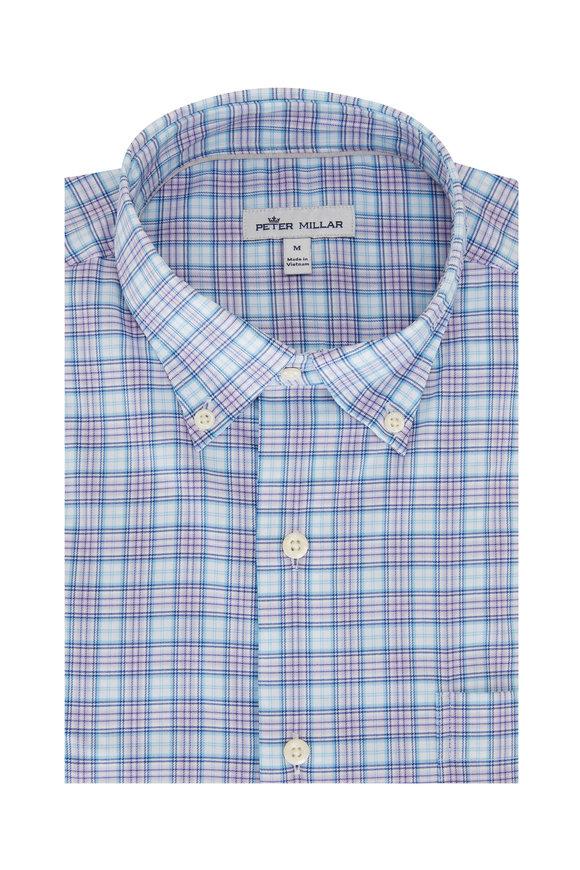 Peter Millar Light Blue Cotton Blend Sport Shirt