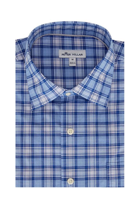 Peter Millar Reed Blue Check Cotton Blend Sport Shirt