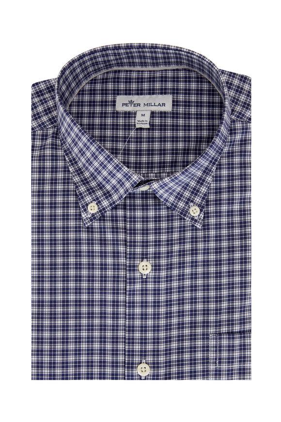 Peter Millar Navy Check Cotton Blend Sport Shirt