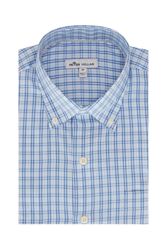 Peter Millar Blue Check Cotton Blend Sport Shirt