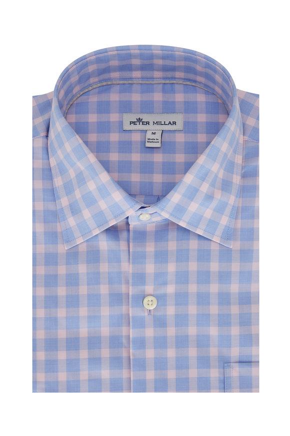 Peter Millar Cooper Blue & Pink Check Sport Shirt