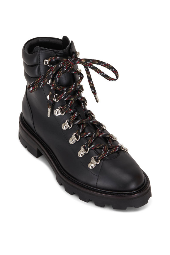 Jimmy Choo Eshe Black Leather Lace-Up Hiking Boot
