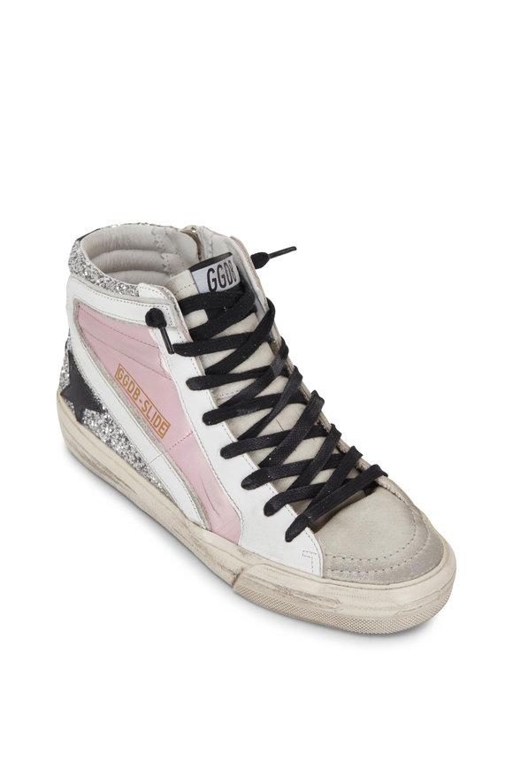 Golden Goose Slide Silver Glitter & Pink Leather Sneaker