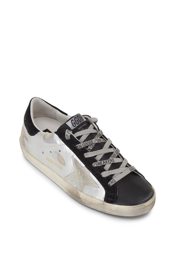 Golden Goose Superstar Silver & Black Low-Top Sneaker
