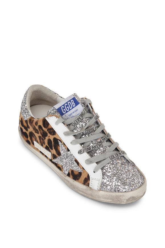 Golden Goose Superstar Leopard & Glitter Star Low-Top Sneaker