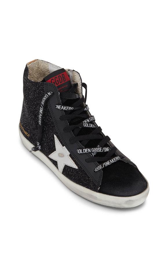 Golden Goose Francy Black Glitter & Silver Star Sneaker