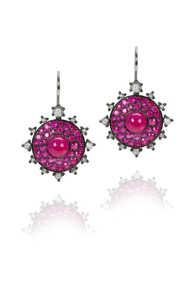 White Gold Ruby Bullseye Earrings