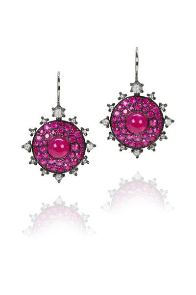 Nam Cho - White Gold Ruby Bullseye Earrings