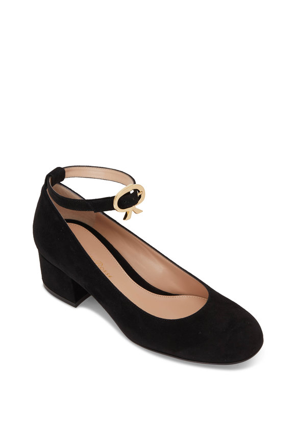 Gianvito Rossi Black Suede Round Toe Pump