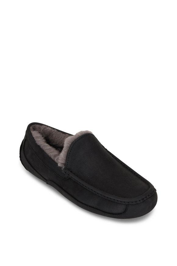 Ugg Ascot Black Leather Slipper