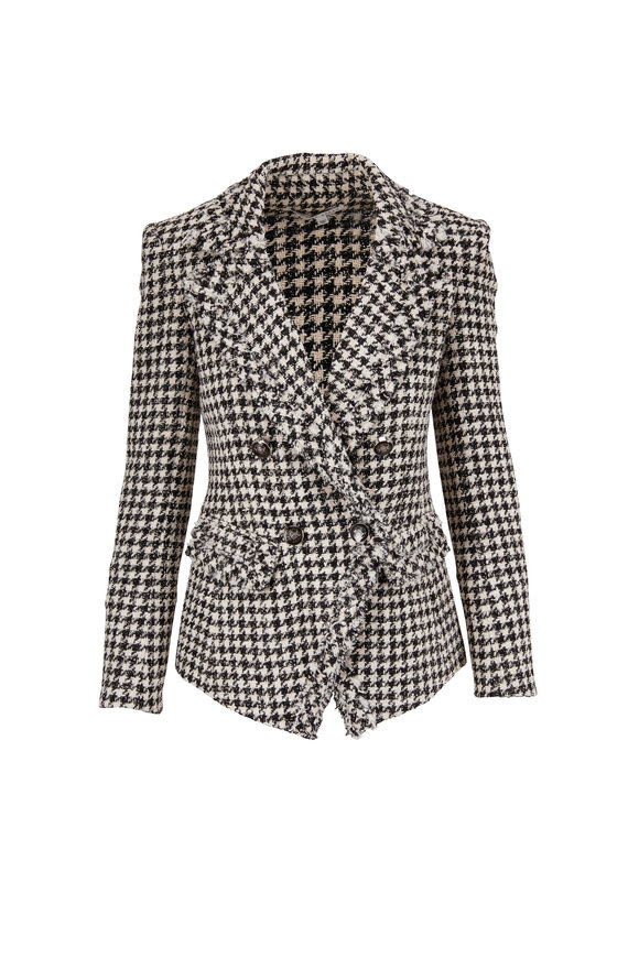Veronica Beard Taja Black and White Houndstooth Tweed Jacket