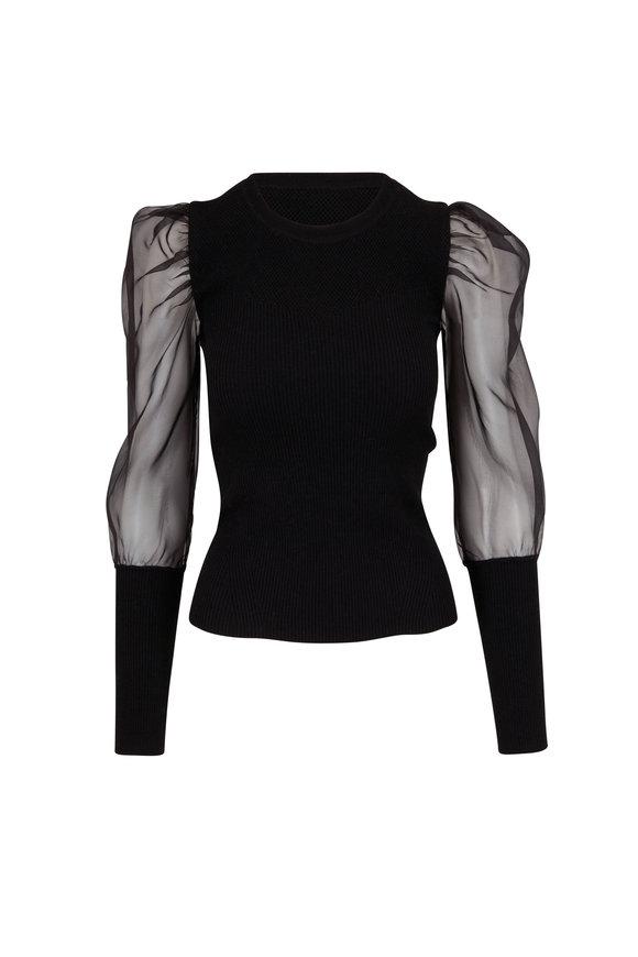 Veronica Beard Leila Black Puff-Sleeve Wool Sweater