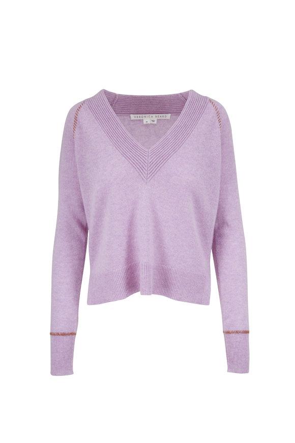 Veronica Beard Preta Lilac Cashmere V-Neck Sweater