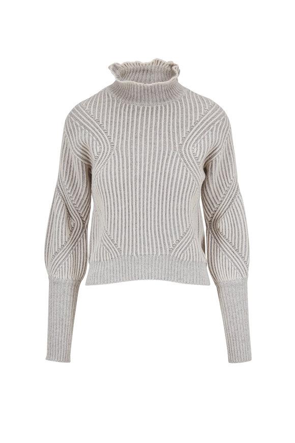 Veronica Beard Rebi Ivory & Grey Ribbed Turtleneck Sweater
